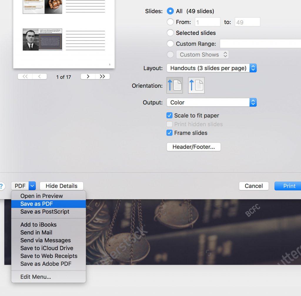 PowerPoint Handout Instructions Screen Shot