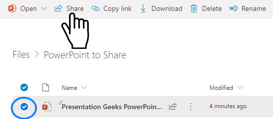 how to share in one drive